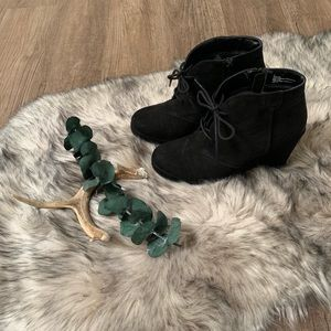 Black Merona wedge booties. 7.5.